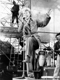 David Bowie Pictured in Concert at Cardiff Arms Park During His Glass Spider Tour  21st June 1987