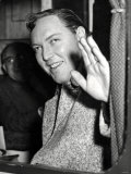 Bill Haley Waves to Crowds of Girls as He Leaves Cardiff General Station