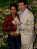 Pierce Brosnan Hugs Halle Berry  Press Conference in Cadiz  During Filming of Die Another Day