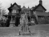 Singer David Bowie Outside Haddon Hall  a Victorian Gothic Mansion  on Southend Road Beckenham