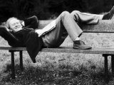 Scottish Actor Gordon Jackson Relaxing on Park Bench 1975 on Hampstead Heath  London