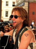 Jon Bon Jovi Pop Star Busking in Covent Garden Crowds Playing the Guitar and Singing Into a Mike