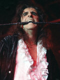 Alice Cooper Pop Singer with Whip in His Mouth on Stage at Barrowlands Glasgow
