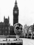 Alice Cooper American Rock Singer with Balloon Sailing Past Big Ben and Houses of Parliament 1975