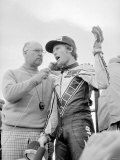 Kenny Roberts Celebrates His Victory at 500cc British Grand Prix Motorcycle Race at Silverstone