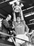 Manchester Uniteds Captain Bryan Robson Shows Off FA Cup to the Wembley Crowd