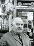 Ronnie Barker as the Stuttering  Lustful Shopkeeper Arkwright from the BBC TV Series Open All Hours
