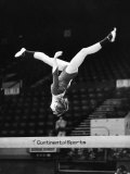 Olympic Champion Gymnast Nadia Comaneci from Romania Training at Wembley Empire Pool April 1977