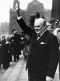 British Prime Minister Winston Churchill Holding His Fingers Up in a V For Victory Sign in Leeds