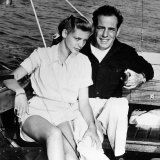Humphrey Bogart and Wife Lauren Bacall on Boat  1951