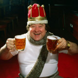 Bernard Manning Wearing Crown Holding Pints January 1986