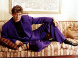 David Hasselhoff Actor Singer Reclining on Settee Wearing Purple Suit
