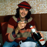 David Essex with Bottle of Champagne September 1975