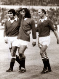 Manchester Uniteds George Best Consoled by Teammates Tony Dunne and Bobby Charlton