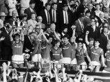 Manchester United Captain Bryan Robson Lifts the FA Cup After Beating Everton