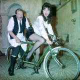 Allo Allo Rene Artois on a Tandem with Yvette in BBC Sitcom Allo Allo