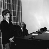 Dusty Springfield with Her Singing Tutor December 1966 in New York