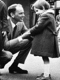 Singer Frank Sinatra Talking to Blind Girl at Visit to Sunshine Home For Blind at Northwood