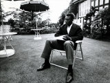 Brazilian Football Star Pele Relaxes in English Country Garden at Brazilian Team Hotel in Lymm