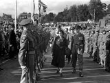 Princess Elizabeth Tour of Devon and Cornwall  Reviewing Army Soldiers October 1949