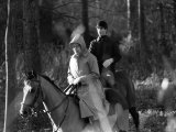 Queen Elizabeth II Out Riding with Prince Edward on New Year's Day 1980