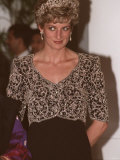 Princess Diana During a Visit to India with Embroidered Bodice Tiara Designed by Catherine Walker