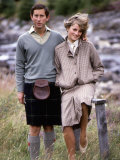 Prince and Princess of Wales at Bridge of Dee  Balmoral August 1981