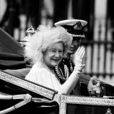 Queen Mother with Prince Charles Waving as They Ride in the Royal Carriage c1985
