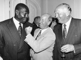 Frank Bruno Boxer with Bobby Charlton and Henry Cooper at the Queens Birthday Party  1992