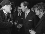 Prince Charles Laughs with Heroes Harry Secombe and Spike Milligan at Launching of New &quot;Goons&quot; Book