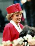 Princess Diana  on Walkabout During Visit Wearing Red Suit and Red Pillbox Hat  May 1989