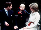 Prince William with Prince Charles and Princess Diana at Kensington Palace December 1983