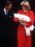 Prince Harry Soon After Birth  Being Held by His Mother Princess Diana and Father Prince Charles