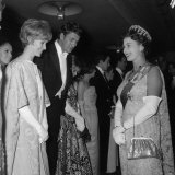 Queen Elizabeth II Meets Actor Bill Travers and Actress Virginia Mckenna at Royal Film Show