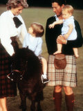 Prince Charles with the Princess of Wales and Sons Harry and William at Balmoral August 1988