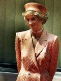 Princess Diana Princess of Wales Wearing Orange and White Polka Dot Dress with Matching Hat