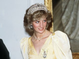 Princess Diana in New Zealand Government House Ball Wellington Wearing a Yellow Dress and Tiara