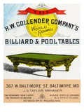 The HW Collender Company&#39;s World Renown Billiard and Pool Tables