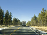 Arizona Road with Rv  Bordered By Pine Forests