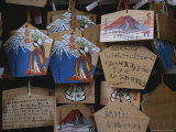 Pentagram-Shaped Cards with Drawings of Mt Fuji Hang From Strings