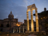 The Columns of the Temple of Castor and Pollux in the Forum at Dusk