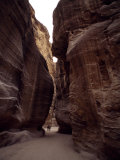 Hikers in the Siq Canyon Leading to Petra