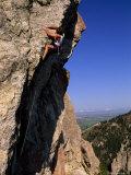 Rock Climber on 'Mean Streak  a Difficult Crag Near Bozeman Pass