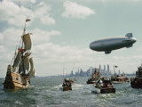 The Mayflower II Enters New York Harbor  Escorted By Small Yachts and a Blimp