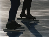 The Legs and Feet of Speed Skaters on Lake Placid