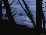 Twilight View of an Oregon Shore Seen From a Cliff