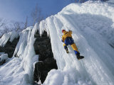 Climber Scales a Wall of Ice Near Cascade Lake
