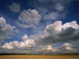 Cumulus Clouds in Sky Over Prairie