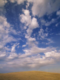 Cumulus Clouds in Blue Sky Over Prairie