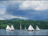 Dark Clouds Gather Above Sailboats on Lake George